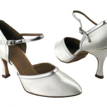 C9621 White Satin & Silver Leather Trim