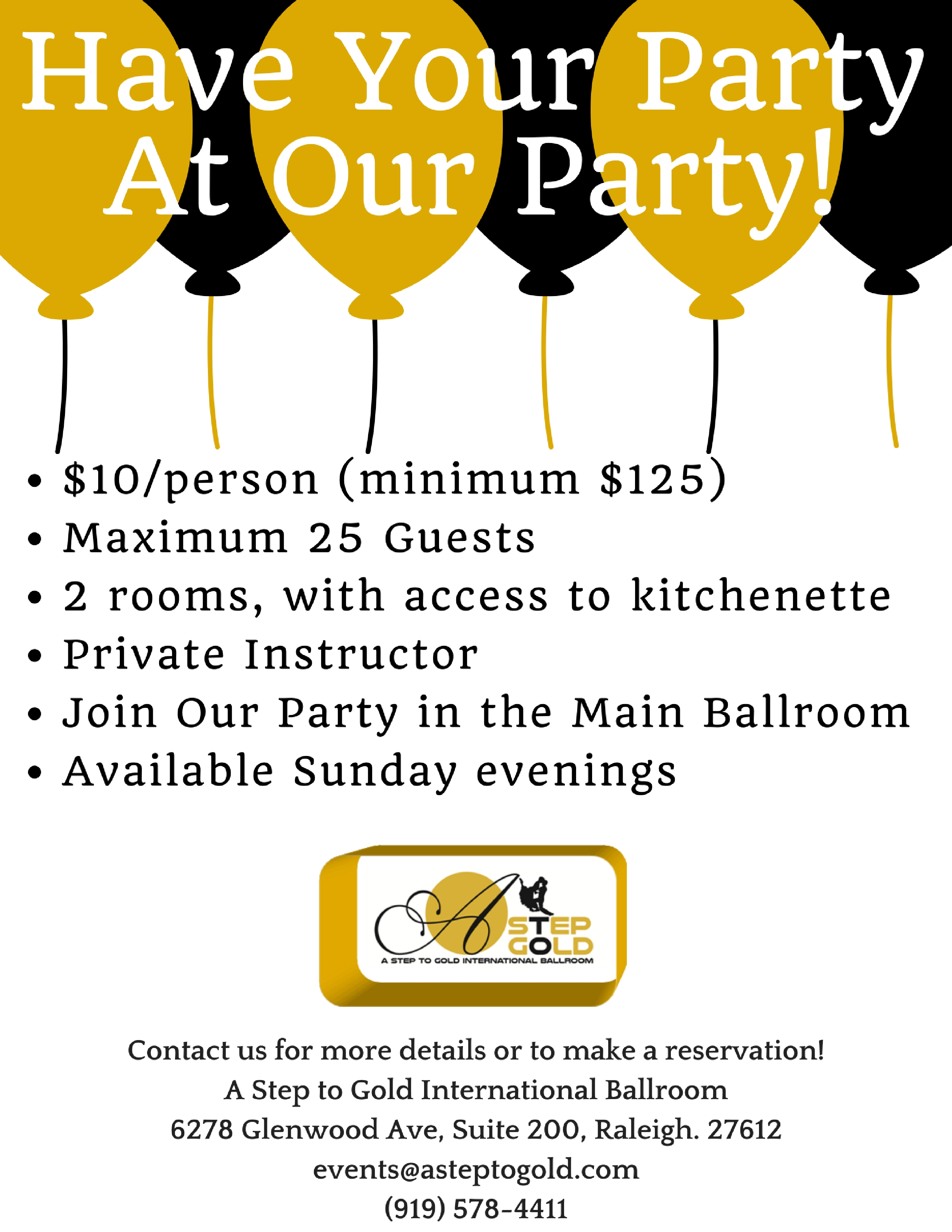 Have Your Party At Our Party!
